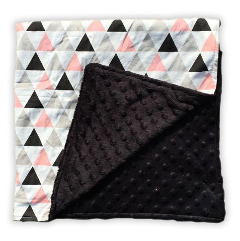 Geo Triangles Black Minky Blanket