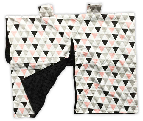 Geo Triangles Black Minky Car Seat Canopy