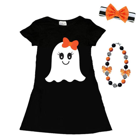 Ghost Black Pocket Dress Orange Bow