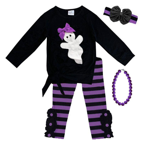 Ghost Bow Outfit Stripe Purple Tie Top And Pants