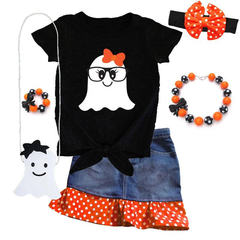 Ghost Glasses Denim Outfit Polka Dot Top And Skirt