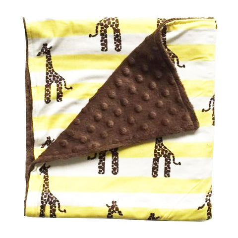 Giraffe Yellow Stripe Brown Minky Blanket