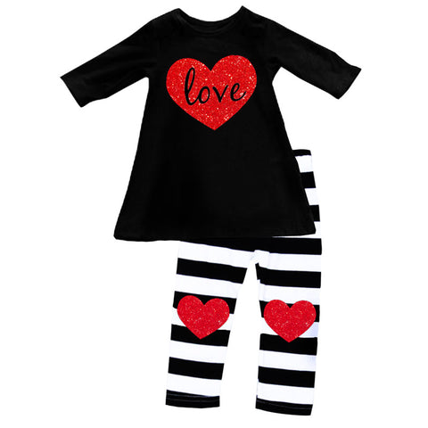 Glitter Heart Outfit Love Black Stripe Top And Pants