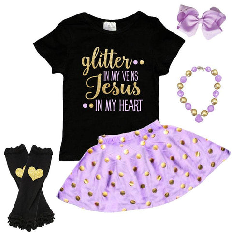 6b6e3540f41f ... Glitter In Veins Jesus In Heart Outfit Purple Gold Polka Dot Top And  Skirt ...