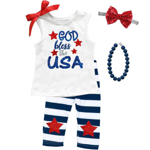 God Bless Usa Outfit Navy Stripe Top And Capri