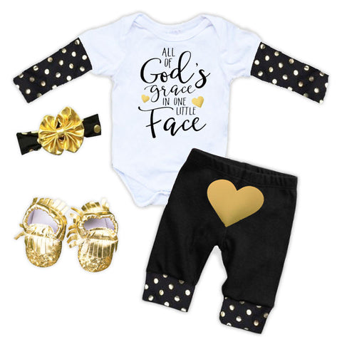 Gods Grace Gold Polka Onesie And Pants