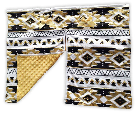 Gold Black Aztec Gold Minky Car Seat Canopy