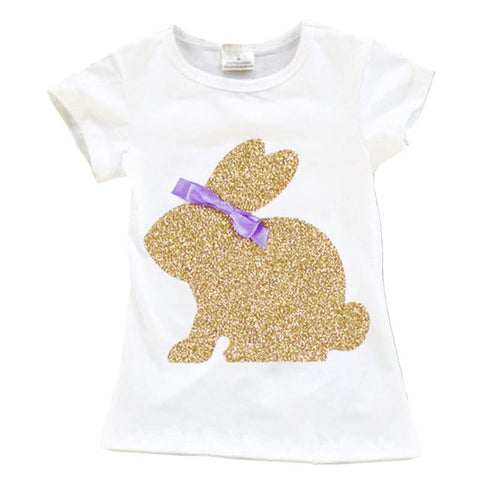 Gold Bunny Shirt Purple Sequin Bow
