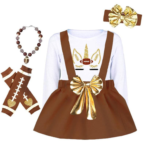 Gold Football Unicorn Outfit Brown Jumper And Top