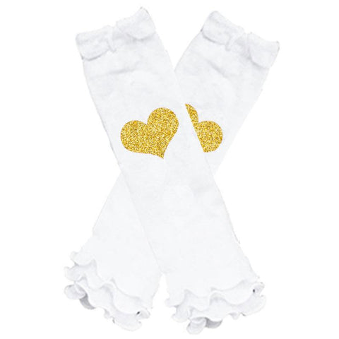 Gold Glitter Heart Leg Warmers White Ruffle