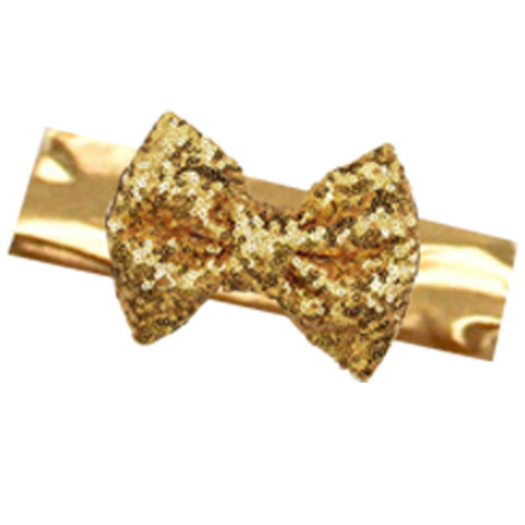 Gold Headband Satin Sequin Bow