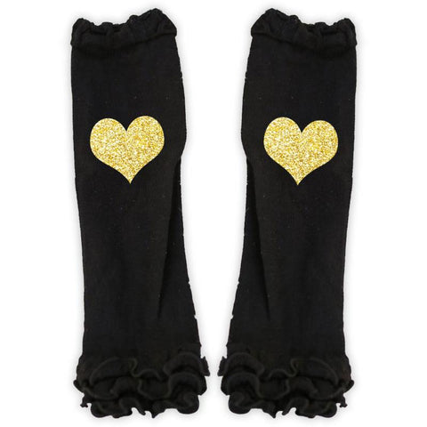 Gold Heart Black Leg Warmers Ruffle
