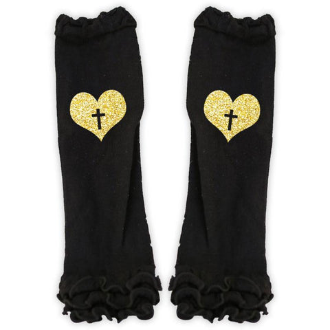 Gold Heart Cross Black Leg Warmers Ruffle