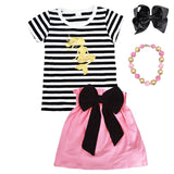 Gold Mermaid Outfit Black Stripe Pink Top And Skirt