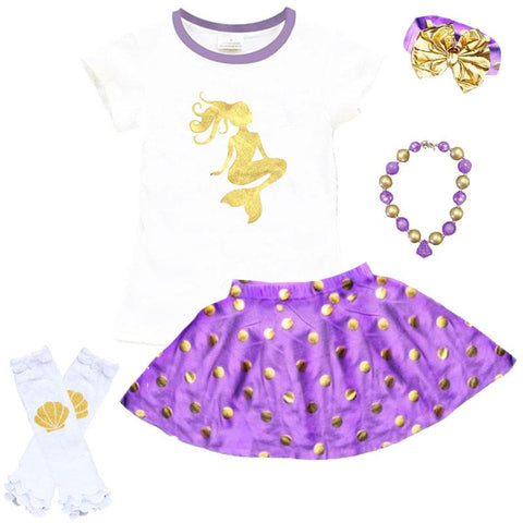 Gold Mermaid Outfit Purple Polka Dot Top And Skirt