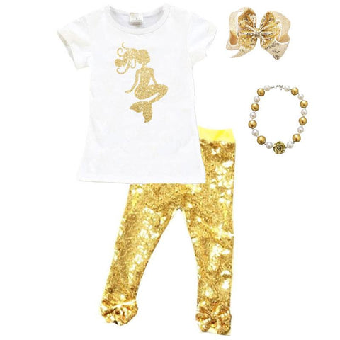 Gold Mermaid Outfit Sparkle Sequin Top And Pants