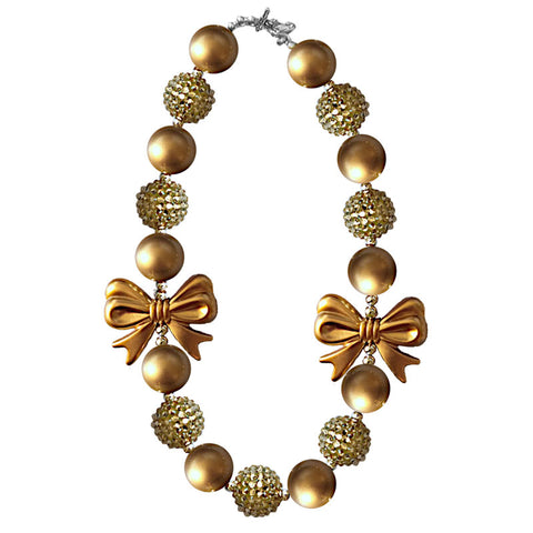 Gold Necklace Bow Sparkle Gumball