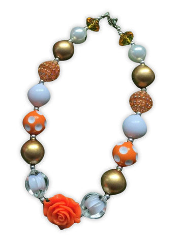 Gold Orange Flower Necklace