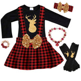 Gold Reindeer Buffalo Plaid Outfit Black Top And Jumper
