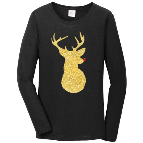 Gold Reindeer Shirt Black Long Sleeve Teen Adult