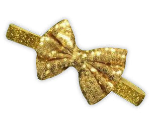 Gold Sequin Bow Gold Headband