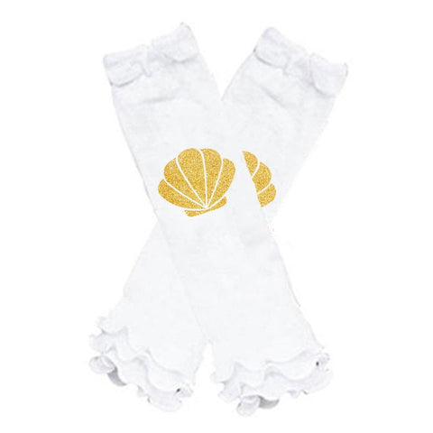 Gold Shell Leg Warmers Mermaid White Ruffle