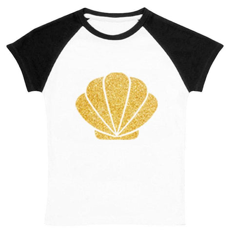Gold Shell Mermaid Shirt Black Raglan Mommy Me