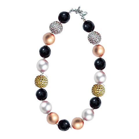 Gold Silver Black Sparkle Necklace Chunky Gumball