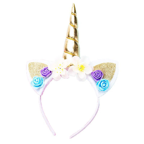 Gold Teal Purple Flower Unicorn Headband