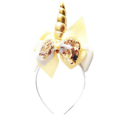 Gold White Sequin Unicorn Headband