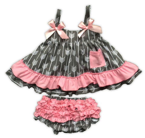 Gray Arrow Pink Ruffle Two Piece