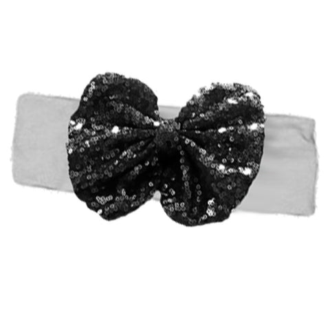 Gray Black Sequin Bow Headband