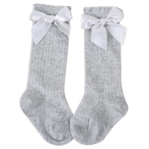 Gray Bow Long Socks