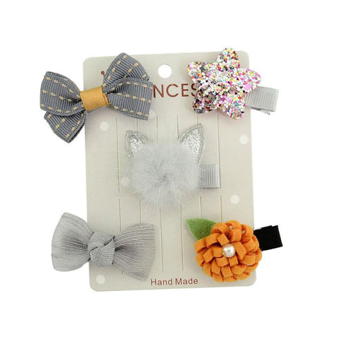 Gray Bow Pumpkin Hair Clip Set Five Pc