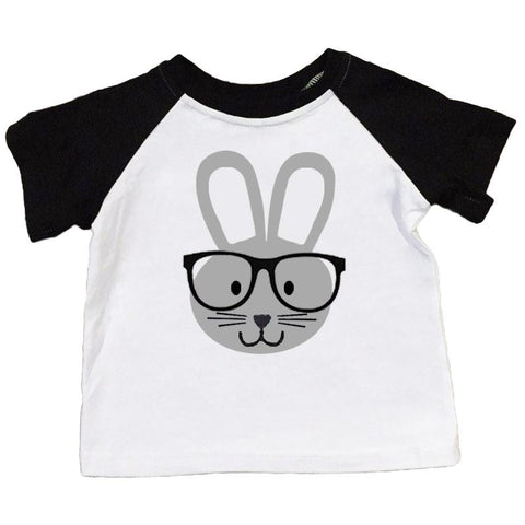 Gray Bunny Glasses Shirt Black Raglan Boy