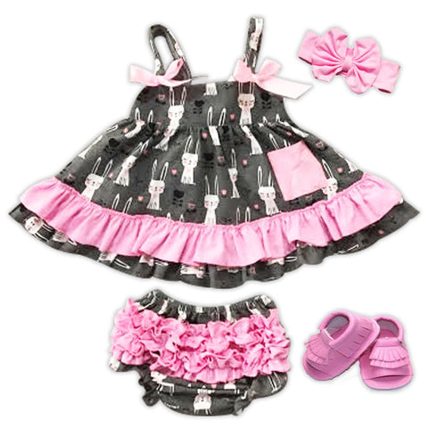 Gray Bunny Pink Two Piece Dress