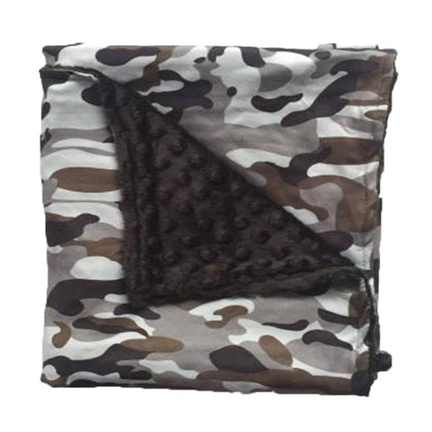 Gray Camo Black Minky Blanket