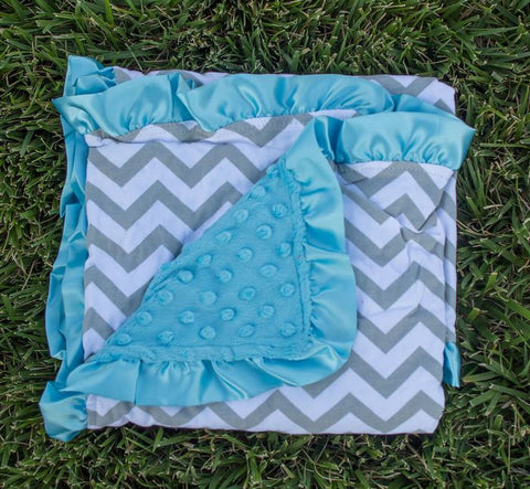 Gray Chevron Blue Minky Blanket