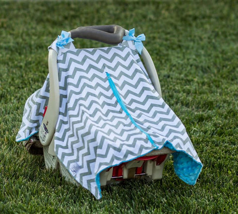 Gray Chevron Blue Minky Car Seat Canopy