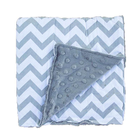 Gray Chevron Gray Minky Blanket