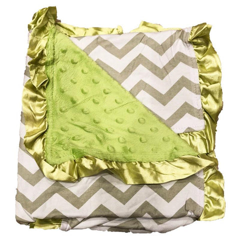 Gray Chevron Green Minky Blanket