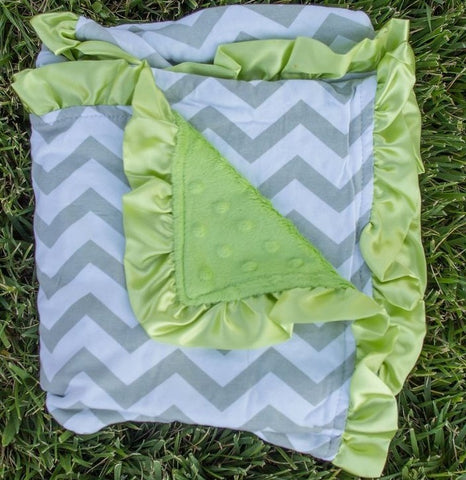 Gray Chevron Lime Minky Blanket