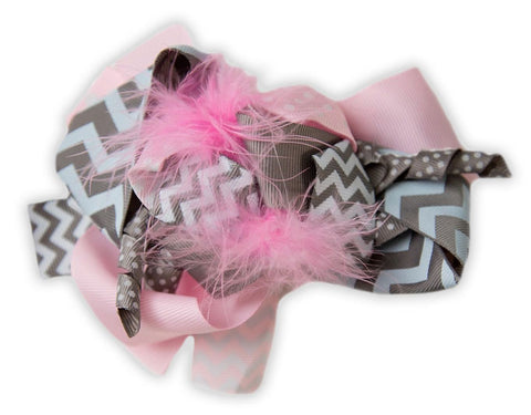 Gray Chevron Pink Feather Bow