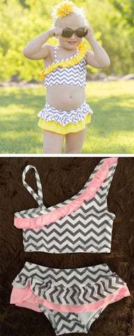 Gray Chevron Two Piece Swimsuit