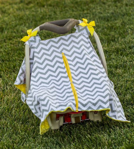 Gray Chevron Yellow Minky Car Seat Canopy