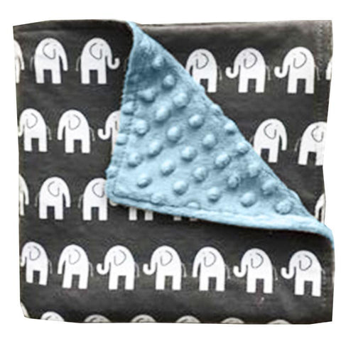 Gray Elephant Blue Minky Blanket No Ruffle