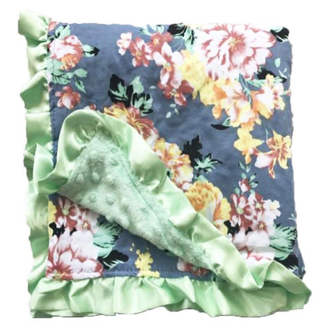 Gray Floral Mint Minky Blanket