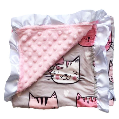 Gray Kitty Cat Pink Minky Blanket