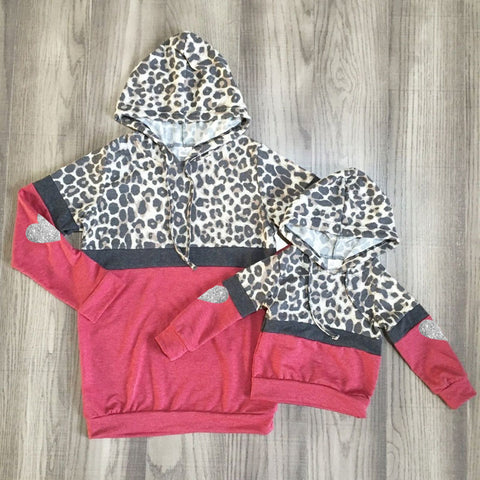 Gray Leopard Stripe Wine Silver Hearts Hoodie Top Mommy And Me