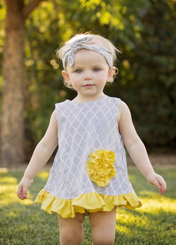 Gray Moroccan Yellow Flower Two Piece